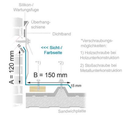 Schematische Zeichnung der Montage einer Überhangschiene