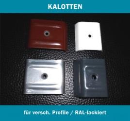 Vier Kalotten in unterschiedlichen Profilen und Farben.